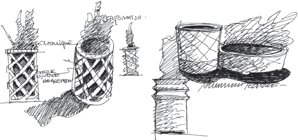 Croquis d'étude pour la conception du mobilier urbain en céramique à Tripoli en Libye