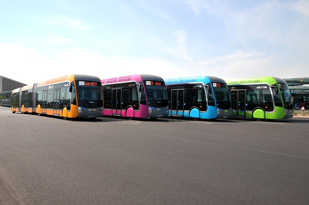 4 couleurs pour les Bus à Haut Niveau de Service du réseau METTIS