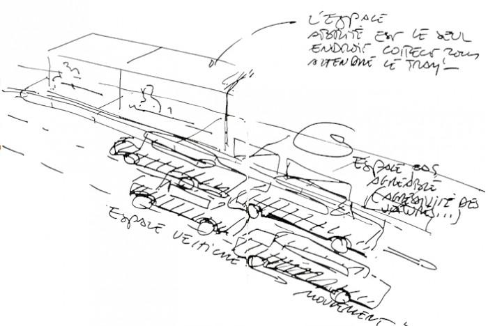 Croquis pour le concours du tramway des Maréchaux, RATP © Marc Aurel