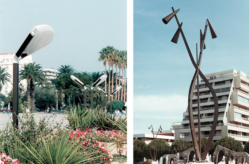 A gauche, les Palmiers à Cannes en 1980. A droite, les lampadaires de la Grande Motte en 1972.