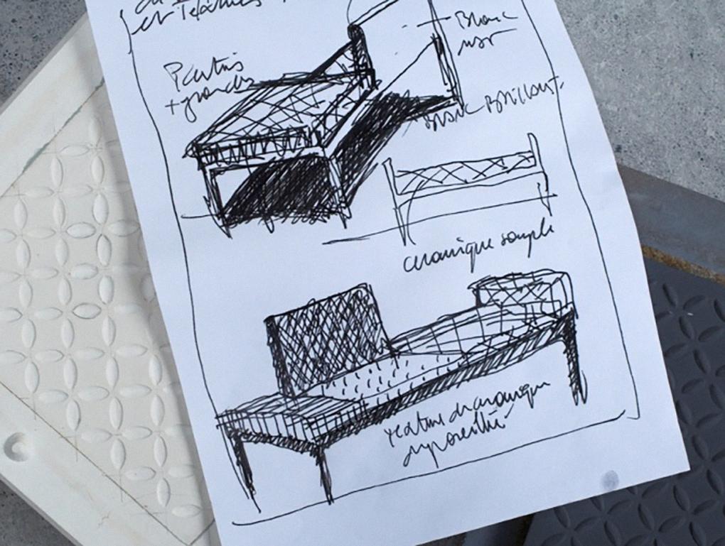 """Dessin préparatoire pour le fauteuil """"Beyrouth"""""""