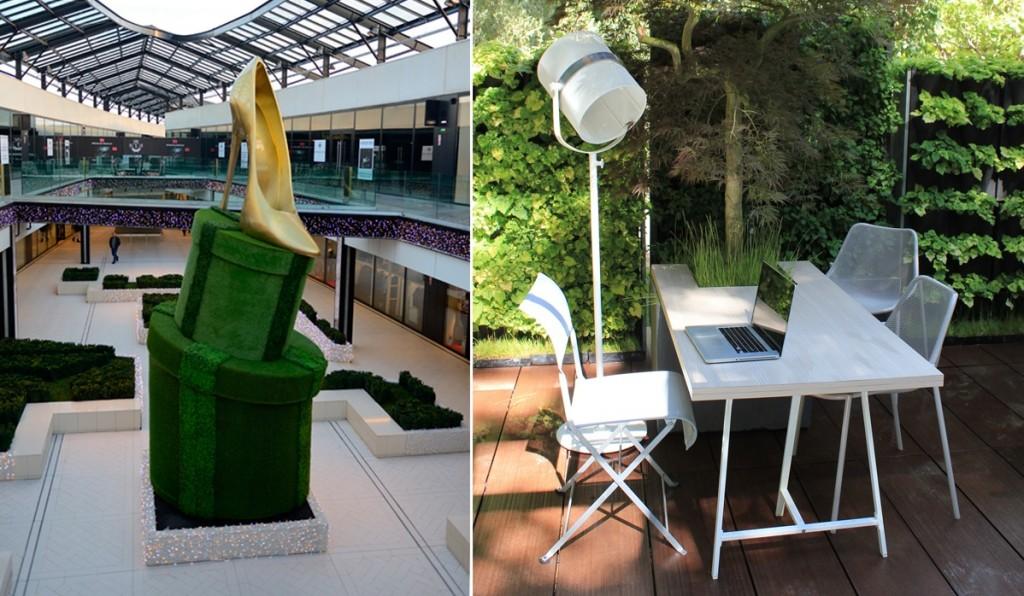 À gauche : végétalisation du centre commercial One Nation Paris / à droite : le bureau fertile